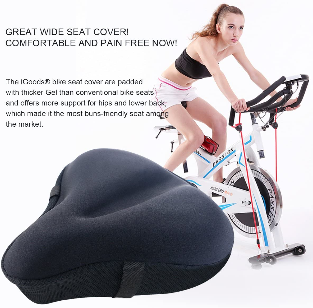 iGOODS Gel Bike Seat Cushion Cover for Men and Women