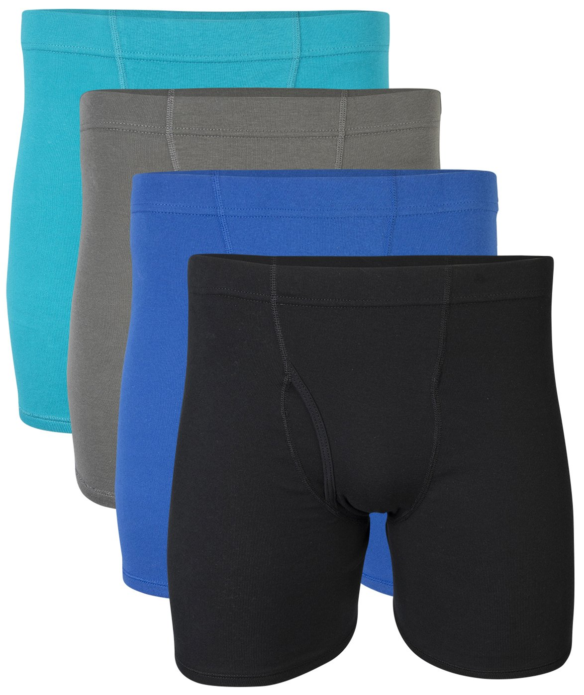 Gildan Men's Covered Waistband Boxer Brief 4 Pack, Mixed Royal, XX-Large
