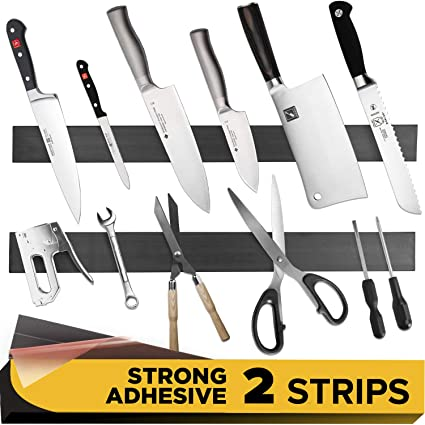 Amazon.com: Tira magnética adhesiva para cuchillos de cocina ...