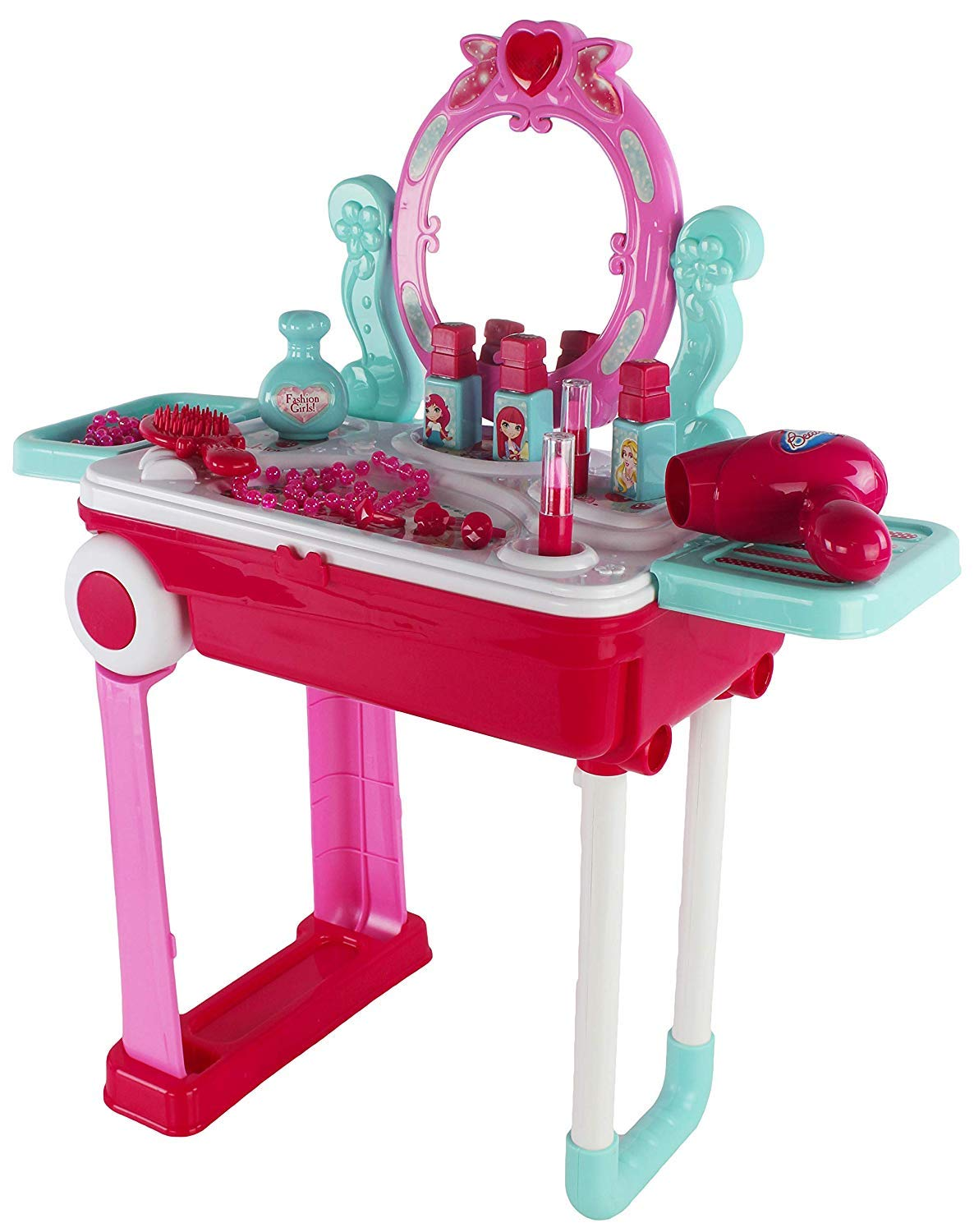 Children's Imaginary Pretend Play Battery Operated Lights & Sounds 2 In 1 Portable Vanity Luggage Playset Toy, Wonderful Toy For Little Girls Who Is Always On The Go & Want To get Dolled Up by Kids Rock Trading