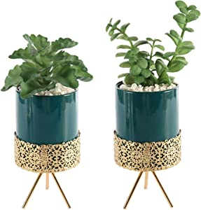 2 Pack Medium Artificial Succulent Green Plants Fake Decorations in Modern Ceramic Pots, Inside with Lifelike Stone Pebbles, with Gold Metal Stand, Perfect for Decorating Home Kitchen