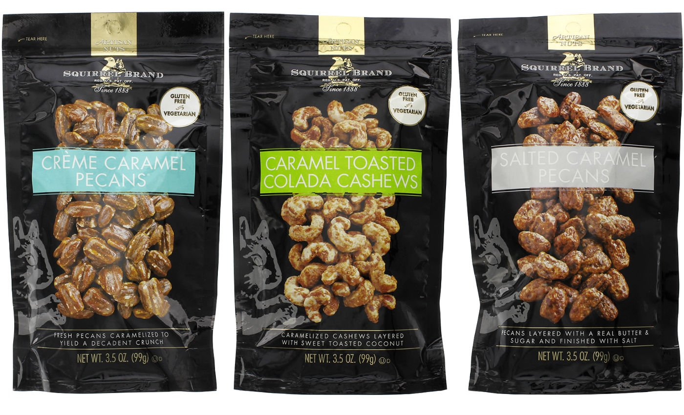 Squirrel Brand Caramel Bundle: Caramel Toasted Colada Cashews, Creme Caramel Pecans, Salted Caramel Pecans - 3.5 oz Each