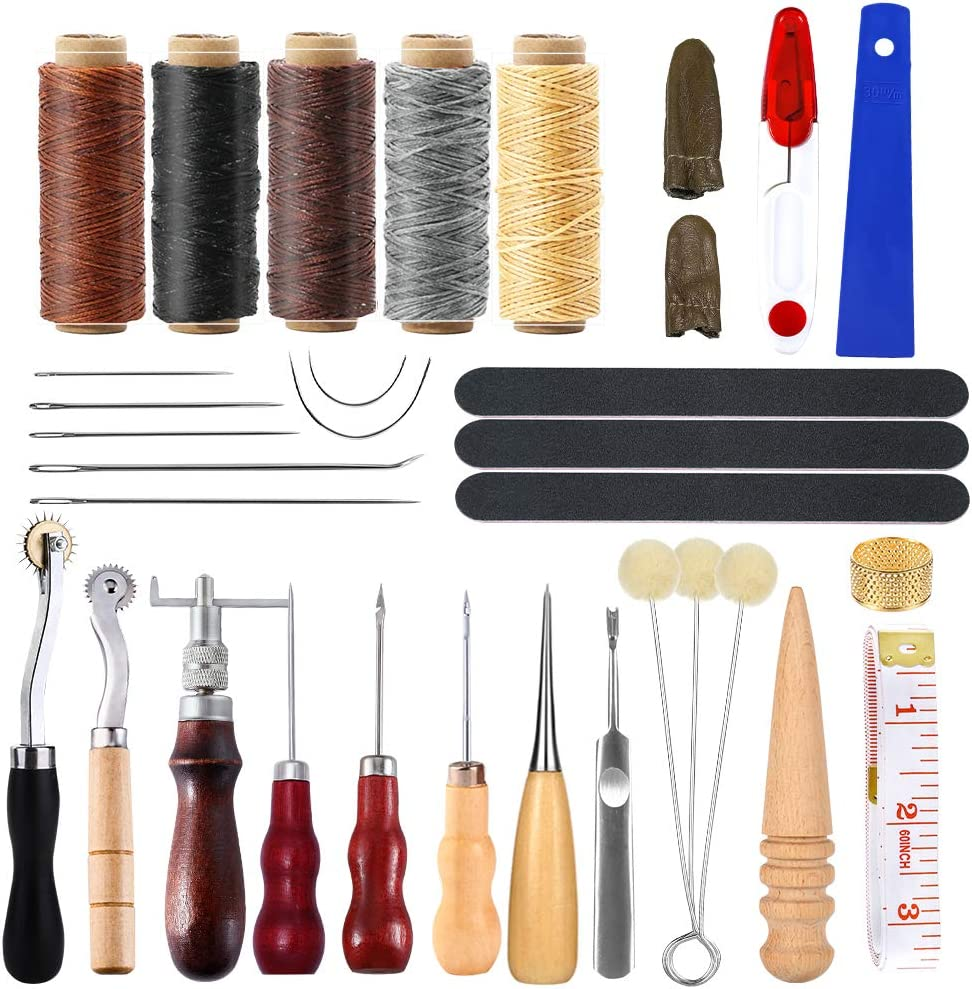 34 Pcs Leather Tool Kit, Leather Working Tools, and Supplies, Leather Sewing Kit with Leather Thread, Leather Sewing Needles, Groover, Thimble, Awl, Instructions and Leather Accessories