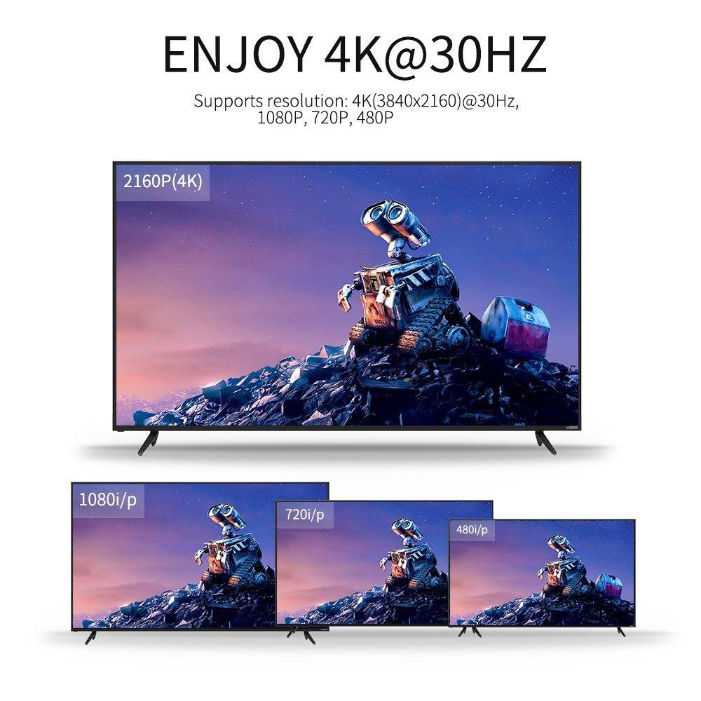 USB 3.1 Tipo C Thunderbolt 3 a HDMI 4K@30Hz Adattatore Video Audio HDTV per MacBook Pro 2017//2016,2017 iMac,Galaxy S9//S9 Plus//S8//S8 Plus,MacBook 2015//2016,Huawei Mate 10 KINGONE USB C a HDMI Cavo