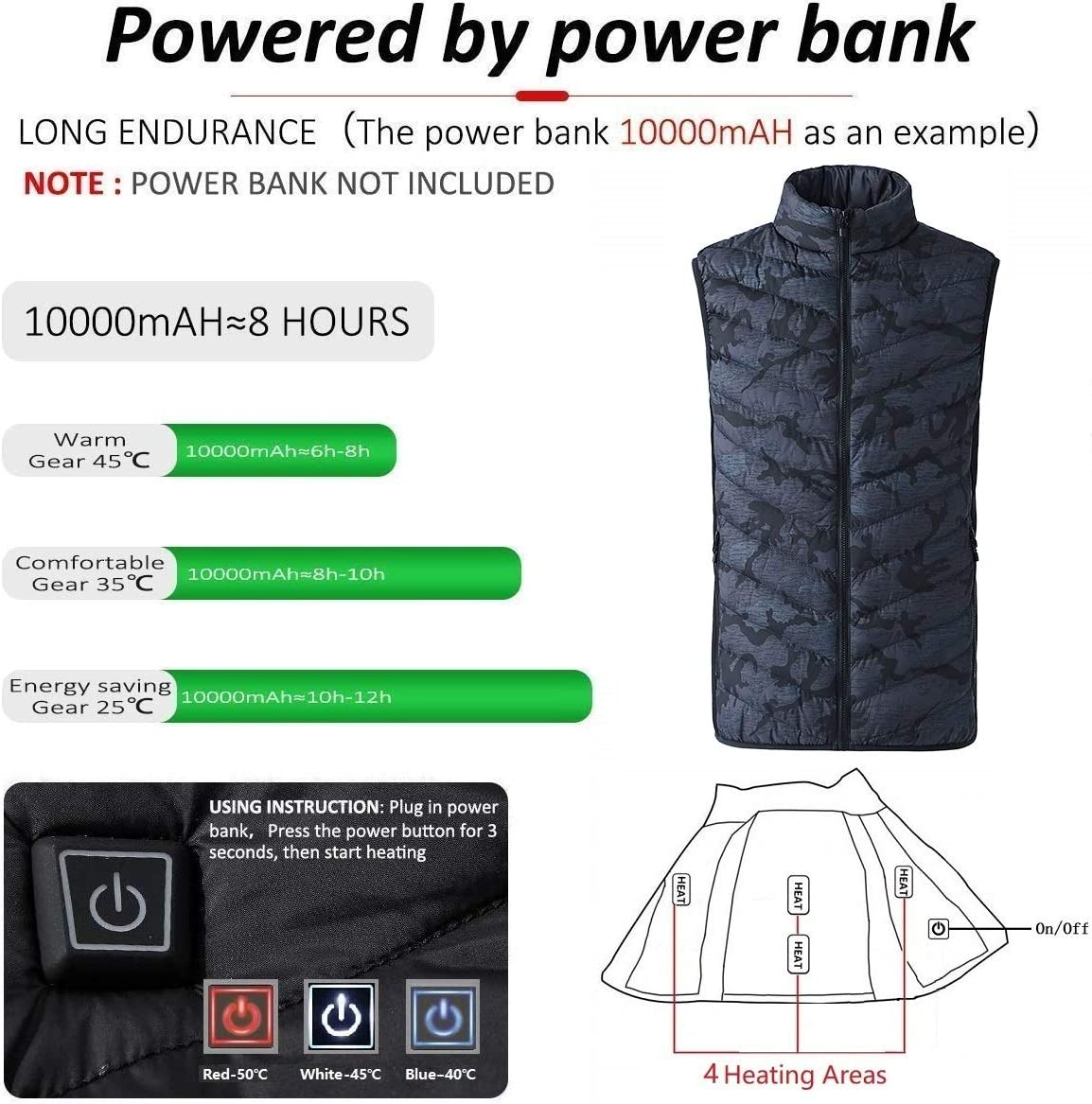 Freefa Electric Heated Vest USB Lightweight Size Right 5 Heating Zones Water Wind Resistant with Touchscreen Glove