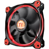 Thermaltake Riing 12 Series High Static Pressure 120mm Circular LED Ring Case/Radiator Fan with Anti-Vibration Mounting System Cooling CL-F038-PL12RE-A Red