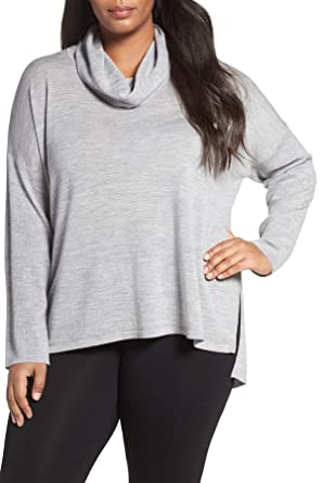 1cfb855a1c6 Eileen Fisher Ultra-Fine Merino Cowl Neck LS Hi-Lo Hem Gray Sweater ...