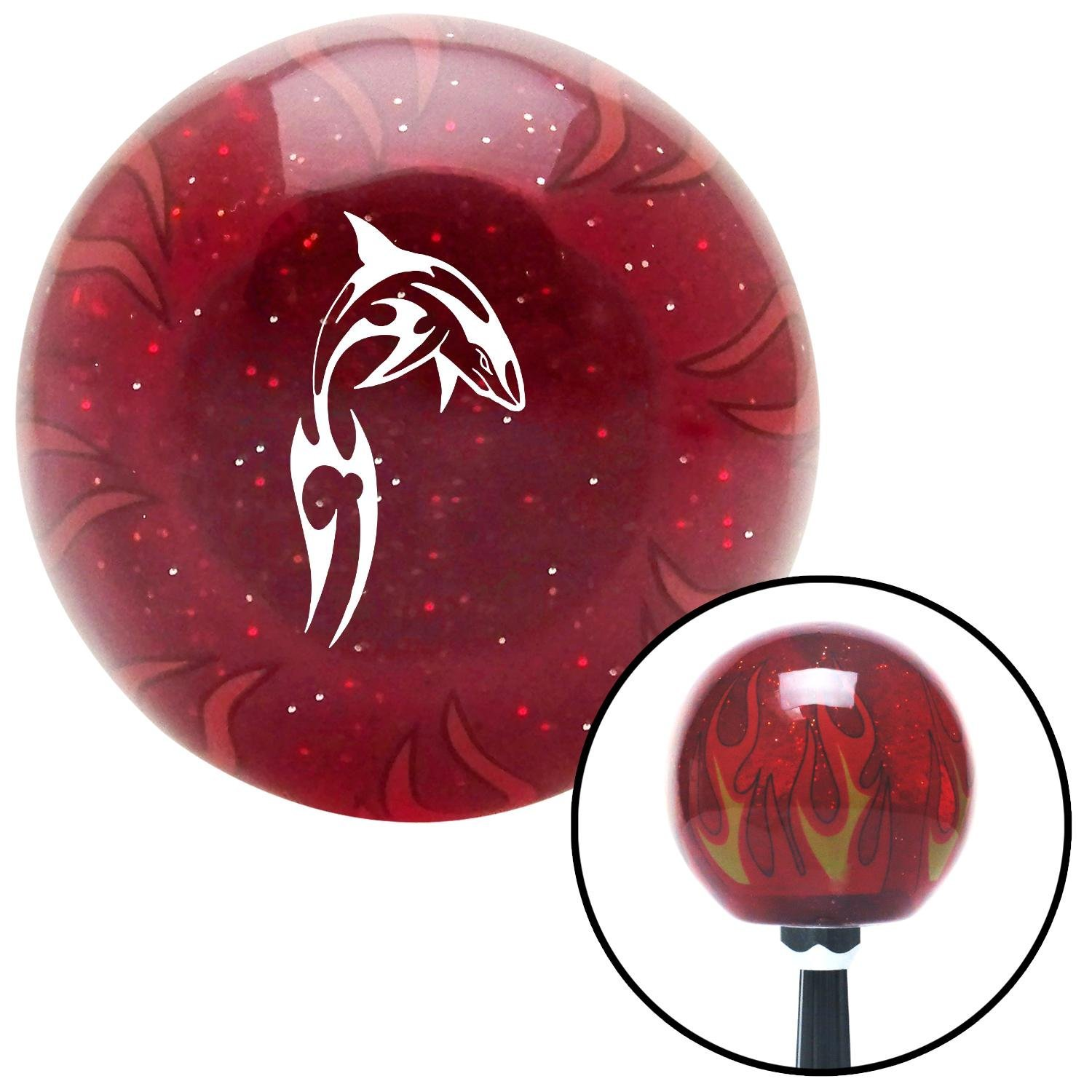 American Shifter 241134 Red Flame Metal Flake Shift Knob with M16 x 1.5 Insert White Abstract Shark