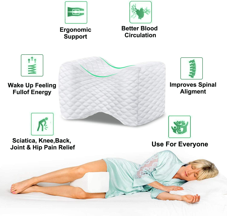 Cuscini per gambe ortopediche con schiuma memory foam per traversine laterali Cuscino per ginocchia per dormire cuscino per supporto per ginocchia per sciatico gamba schiena alleviare il dolore