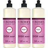 Mrs. Meyer's Clean Day Liquid Dish Soap, Cruelty Free Formula, Peony Scent, 16 oz- Pack of 3