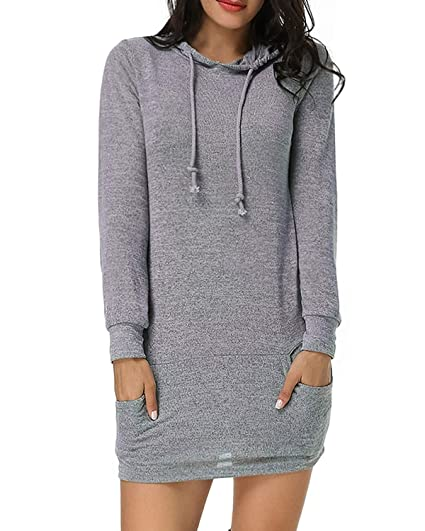 Kidsform Sweat Shirt Robe à Capuche Femme Pull Over à Manches Longues Casual Tops Robe Automne Hiver T Shirt Hauts avec Poches Chic