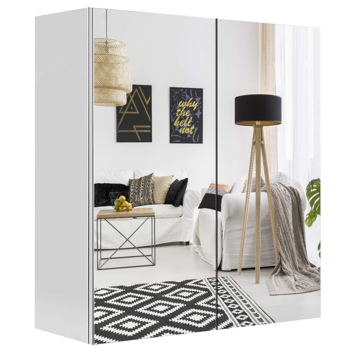 "Tangkula Bathroom Medicine Cabinet, Wide Wall Mount Mirrored Cabinet with Adjustable Shelf, Bathroom Double Mirror Door Cabinet (24""X25""X9"")"