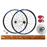 QR 700c Racing Road Bike Racer Front Rear Wheel Set Wheelset fitted with 9 speed cassette (11-25t) 24x Aero Bladed Spokes High Performance Quando Hubs Red Blue Yellow Green (Suitable for rim brakes only)