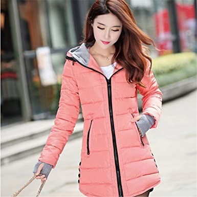48e0def41c5 Image Unavailable. Image not available for. Color  YouzhiWan007 New Women  Winter Hooded Warm Coat Slim Plus Size Candy Color Cotton Padded ...