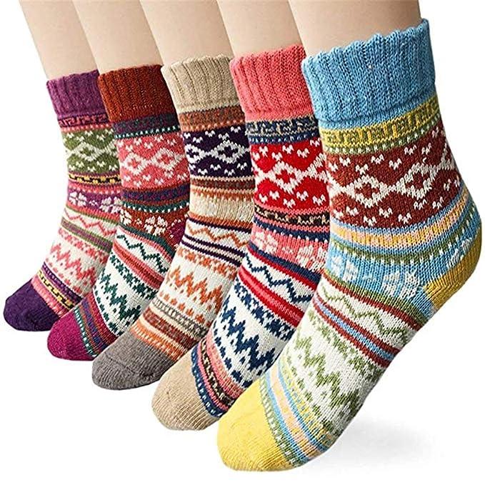 ACEDICHY Calcetines térmicos de lana gruesa de 5 pares para el invierno y el otoño (Multicolor-1): Amazon.es: Ropa y accesorios
