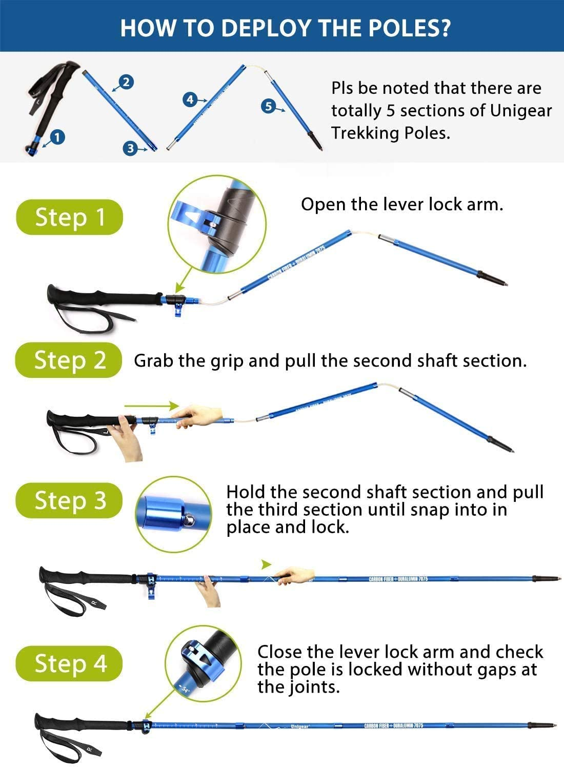 Backpacking Hiking Camping Hiking Sticks with Quick Lock System 7075 Aluminum Alloy Ultralight 115-135cm Collapsible For Walking Trekking Unigear Trekking Poles