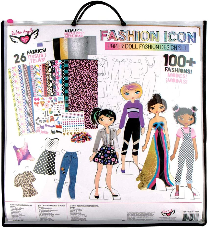 Amazon Com Fashion Angels Fashion Icon Paper Doll Fashion Design Kit 12368 Paper Doll Making Set Multicolor Toys Games