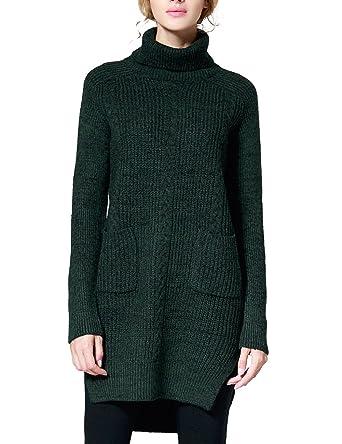 8ef0c146cc3 Rocorose Women s Side Slit High-low Hem Turtleneck Long Sweater Green S