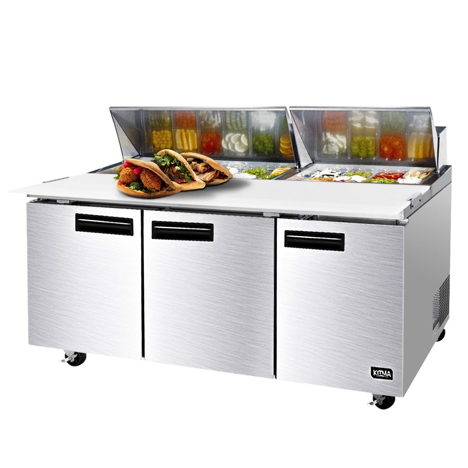 72 Inches Sandwich Salad Prep Table Refrigerator - KITMA 32.8 Cu. Ft 3 Door Food Prep Station Table with Cutting Board and 18 Pans, 33 °F - 38°F