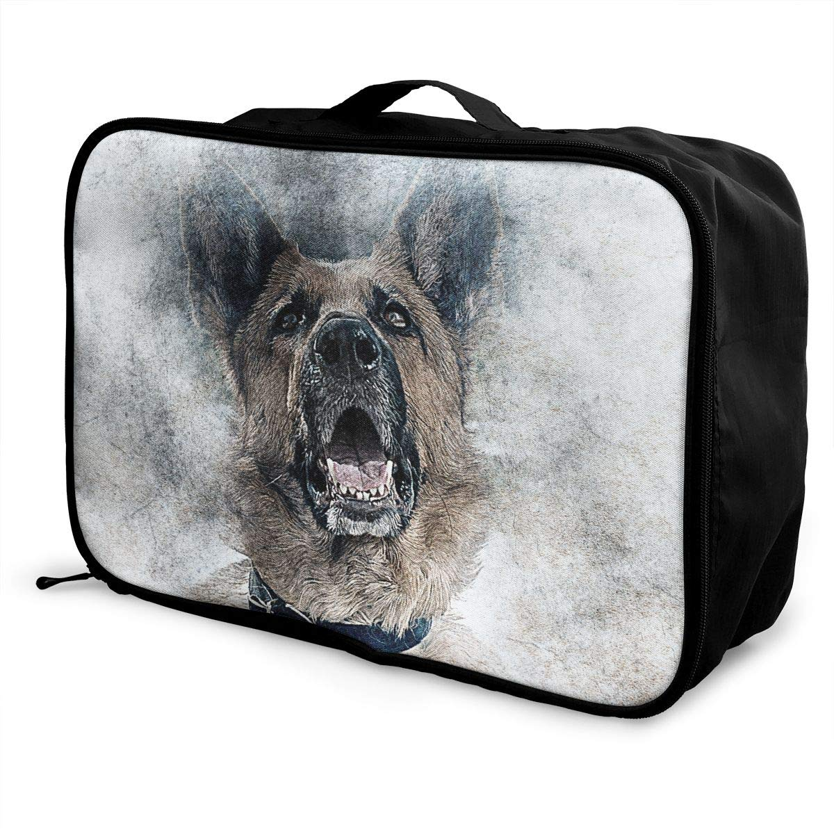 ADGAI Roaring Dog Cute Canvas Travel Weekender Bag,Fashion Custom Lightweight Large Capacity Portable Luggage Bag,Suitcase Trolley Bag