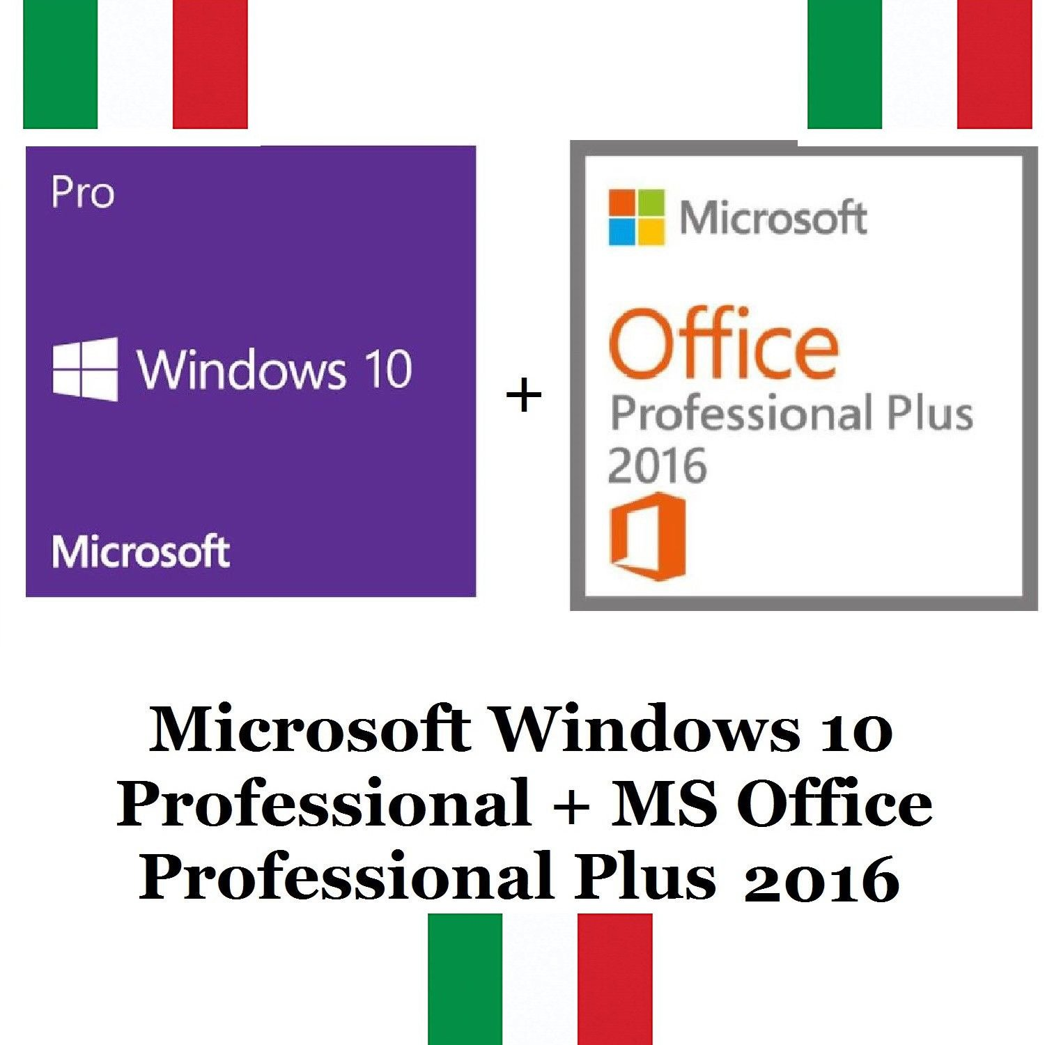 MICROSOFT WINDOWS 10 PRO + OFFICE PROFESSIONAL PLUS 2016 32 / 64 CLAVE CLAVE DE LICENCIA CLAVE ITA