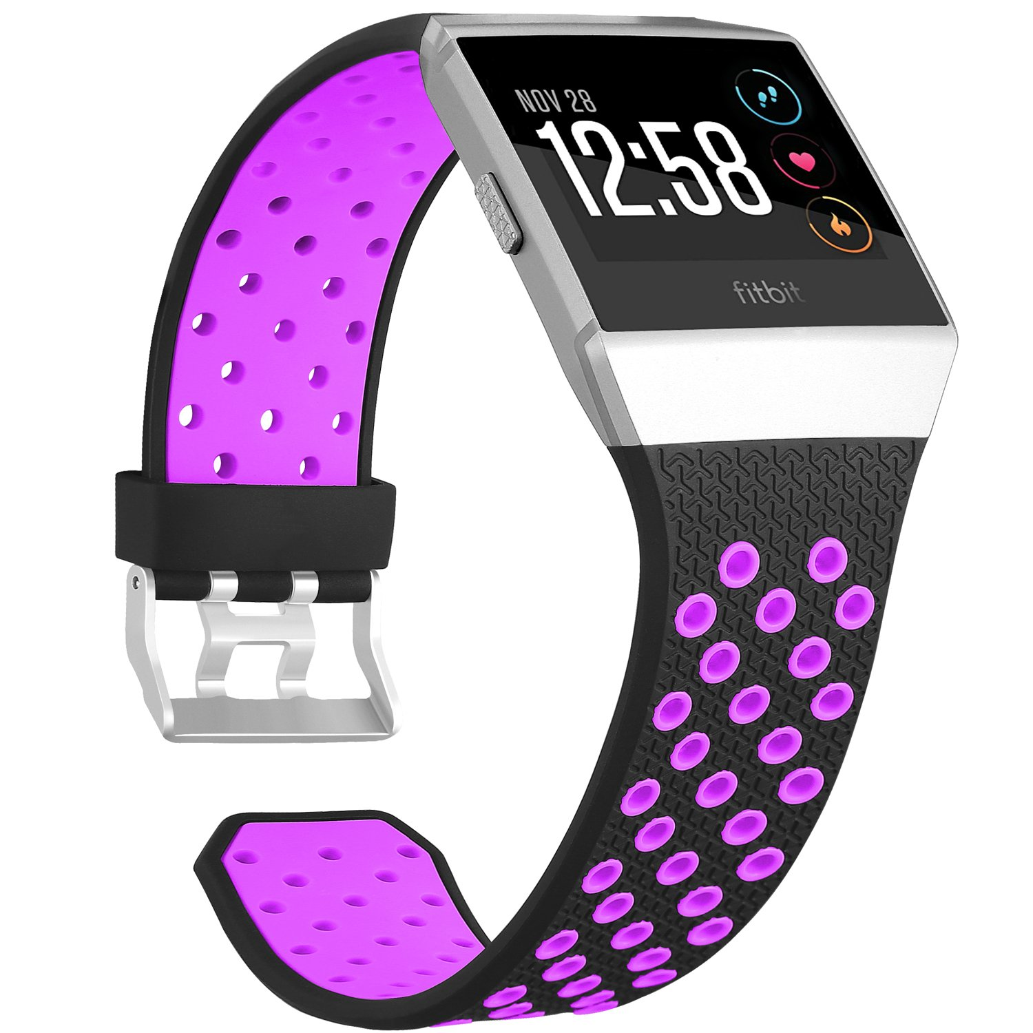 For Fitbit Ionic帯、Skyletソフト通気性アクセサリーWristbands for Fitbit Ionicブレスレットwith Buckle (トラッカーなし) 6.3-9.3 Inches/160-235mm|Black-Purple Black-Purple 6.3-9.3 Inches/160-235mm B078JD2HHJ
