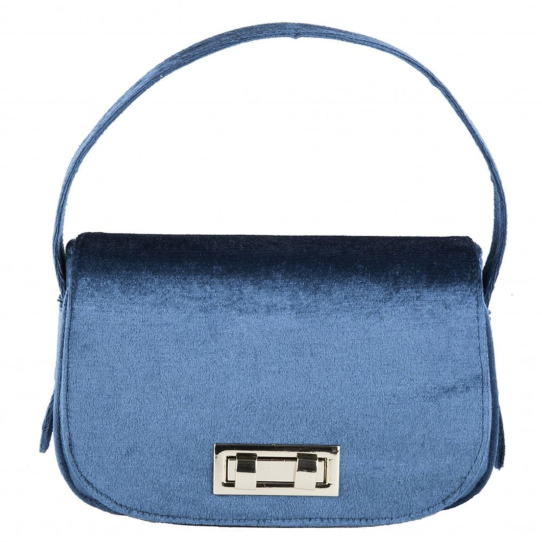 Handbag, Belina?light blue,?Velour, Dimensions in cm: 23 l x 15 h x 7 p, Anna Cecere