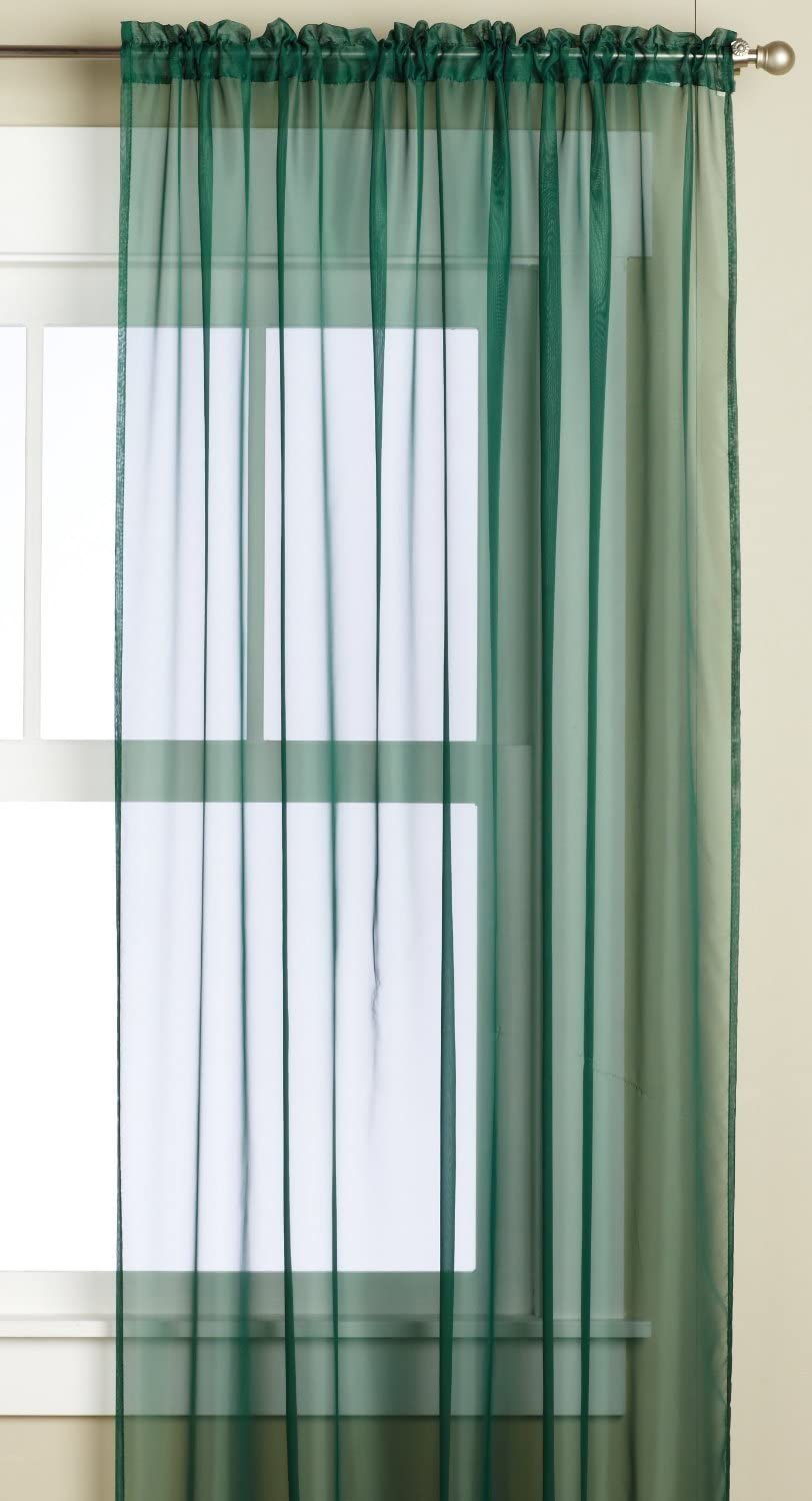 Editex Home Textiles Monique Sheer Window Panel, 58 by 95-Inch, Green