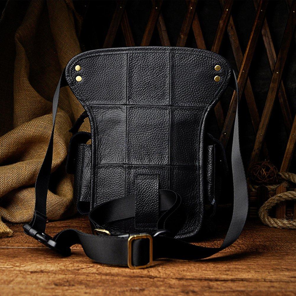 Crazy horse -Brown 2 11 Retro Mens Leather Waist Pack Casual Shoulder Bags Messenger bag drop leg bag