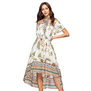 034e28054db Zerorun Women s Off Shoulder Summer Maxi Long Dresses Floral Printed Bohemian  Dresses for Women