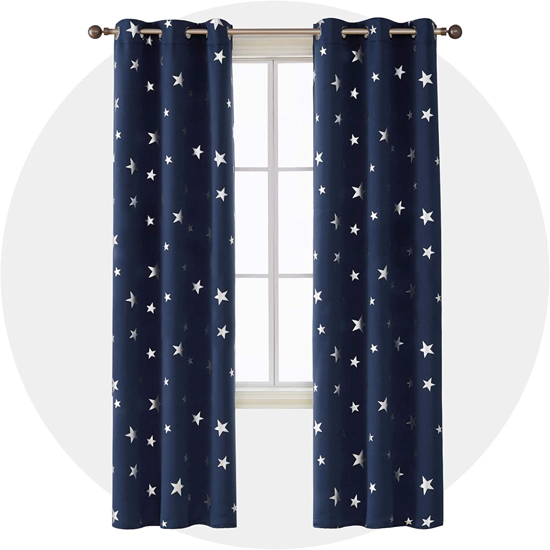 Amazon Coupon Code for Foil Print Star Grommet Window Blackout Curtains