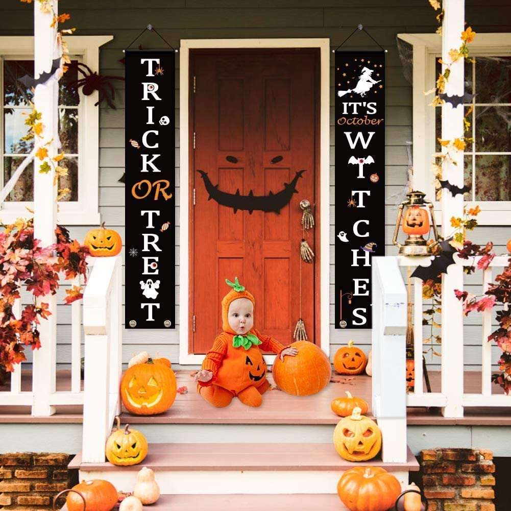 2pcs Halloween Decorations Outdoor, Trick or Treat & Witches Halloween Banner Signs for Front Door or Indoor Home Decor | Porch Decorations | Halloween Welcome Signs