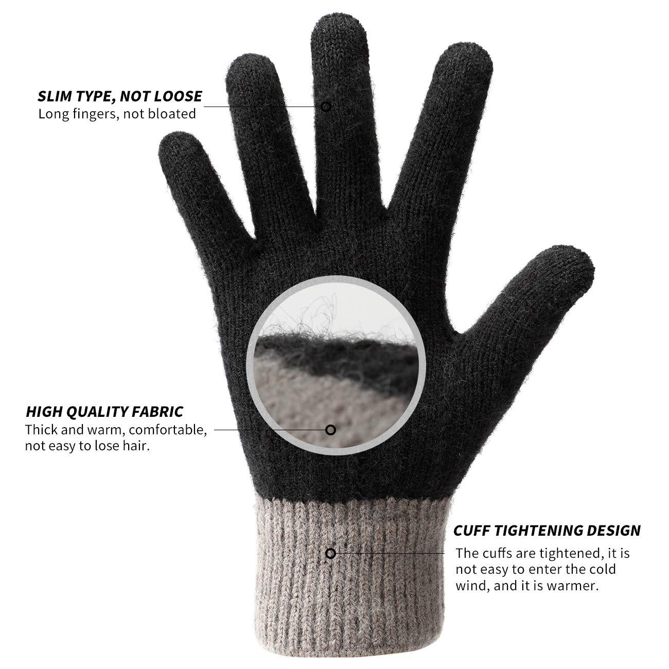 Geeinget f/ür Damen und Herren Winterhandschuhe Touchscreen Handschuhe Strick Fingerhandschuhe Sport Warm und Winddicht Winterhandschuhe f/ür Skifahren Radfahren und SMS