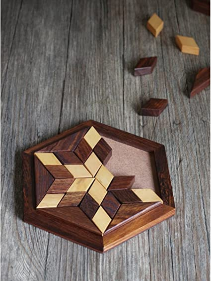 Craftland Wooden Jigsaw/Puzzle 30- Pieces Star Shape Plate Board Game for Kids/Adults for Fun/Challenging/Brain Teaser Game.