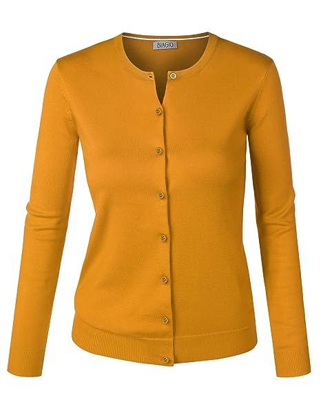 Biadani Women Round Neck Button Down Soft Classic Knit Cardigan