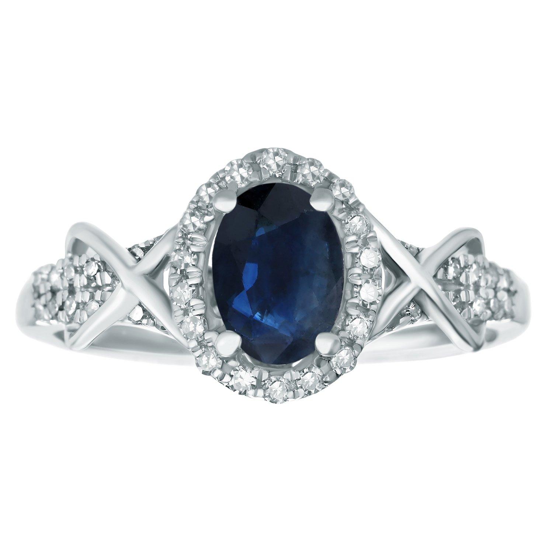 10K White Gold, Blue Sapphire Diamond Oval Ring (.24cttw, I-J, I2-I3) Size 6