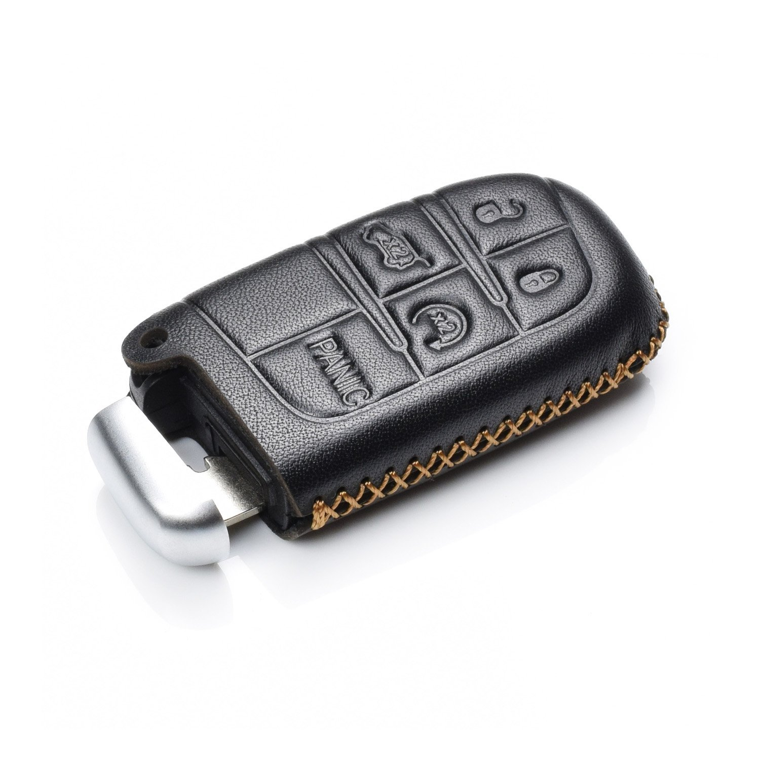Chrysler Dodge Vitodeco Genuine Leather Smart Key Keyless Remote Entry Fob Case Cover with Key Chain for JEEP 5 Buttons, Black