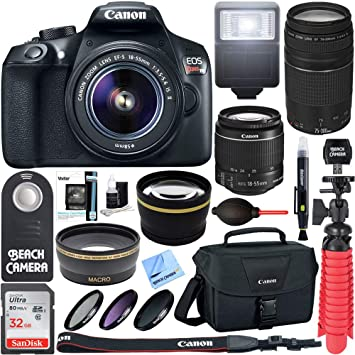 Canon T6 EOS Rebel DSLR Camera w/ EF-S 18-55mm IS II & 75-300mm III Lens  Kit + Accessory Bundle 64GB SDXC Memory + SLR Photo Bag + Wide Angle Lens +