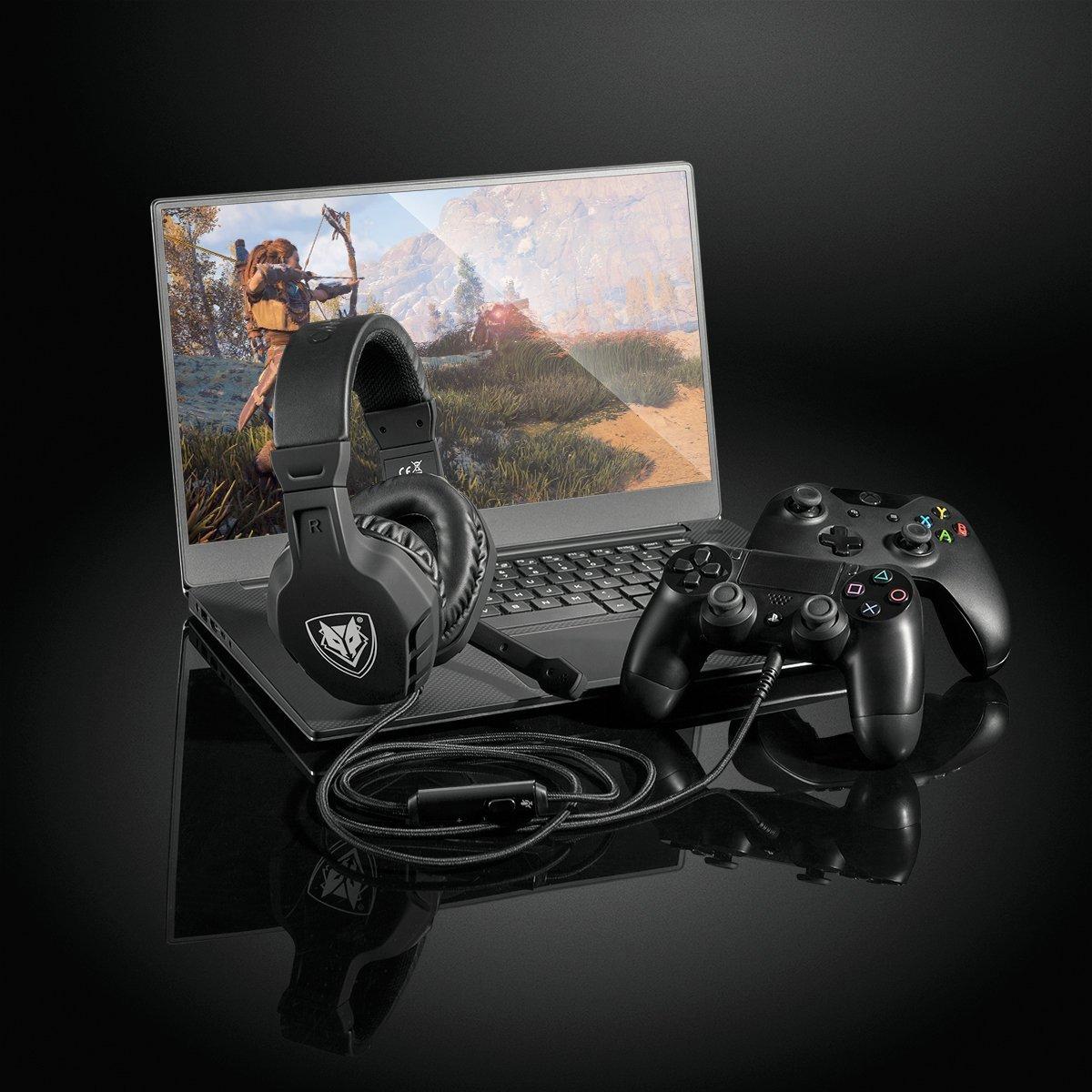 Android e iPhone-Rosso U3 Stereo Cavo per PC Gaming Headset con Microfono cancellazione del Rumore Mac Xbox One Cuffie Auricolari con Volume /& Controllo Mute per PC NUBWO PS4 Gaming Headset PS4