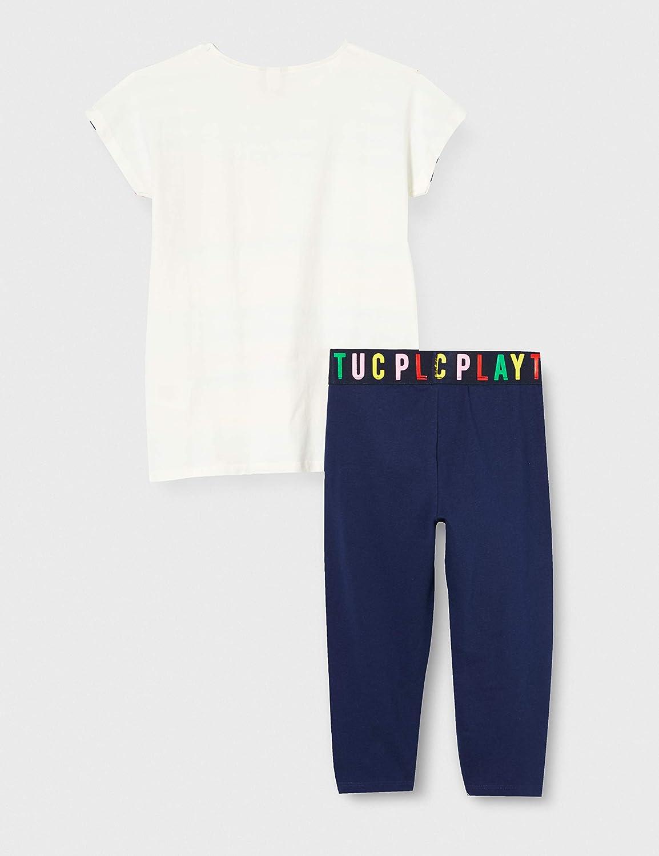 T-Shirt E Leggings Capri Righe Bambina Azzurro Player