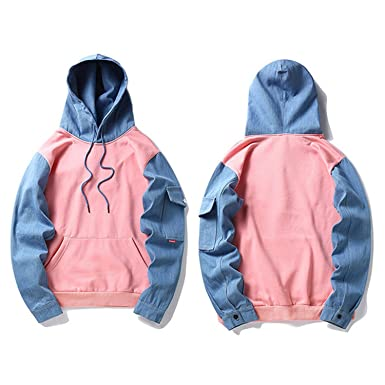 Hoodie Fleece Pink Blue Patchwork Mens Hip Hop Pullover Sweatshirts Streetwear Spring Hoodie Pink Blue M