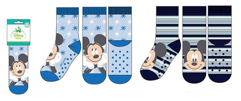 Pack 2 pares de calcetines bebe antideslizantes diseño Mickey Mouse (Disney) 2 modelos diferentes tallas 0-6 y 6-12 meses alta calidad: Amazon.es: Ropa y ...