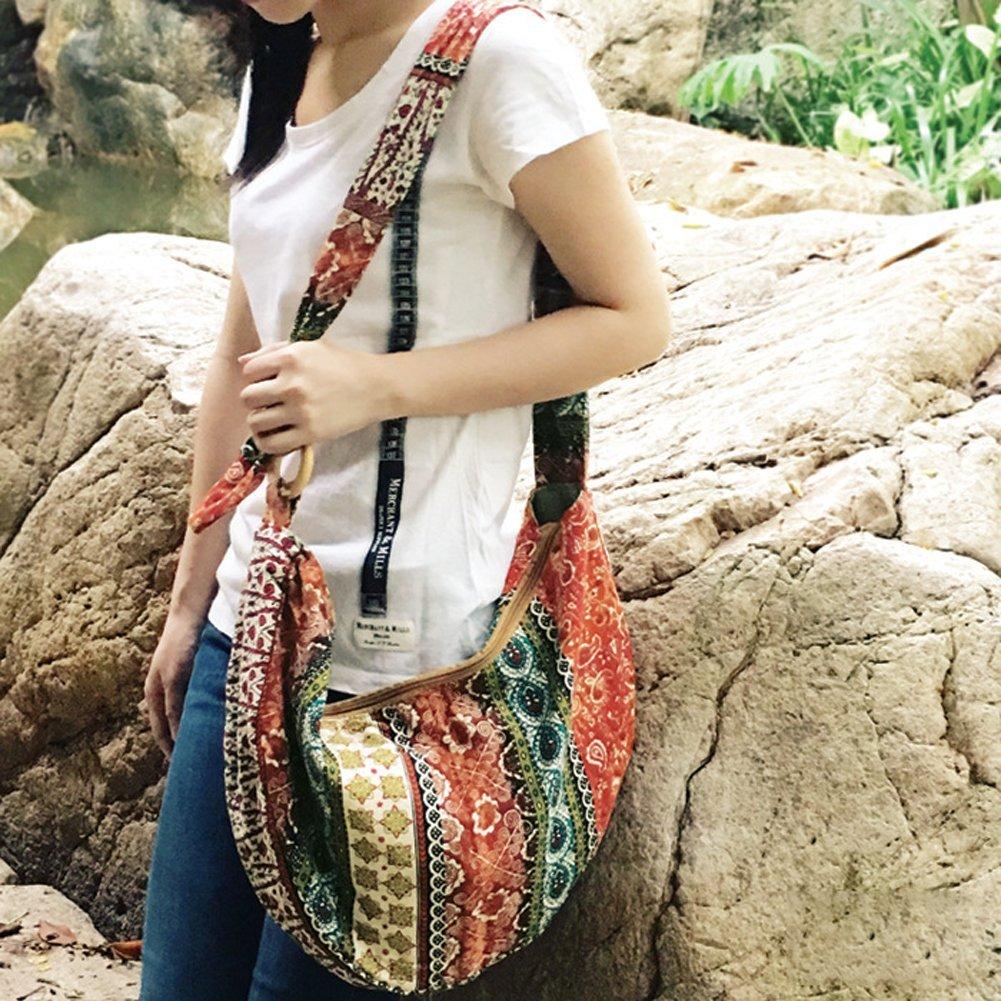 KARRESLY Large Bohemian Hippie Thai Top Zip Handmade Hobo Sling Crossbody Bag Purse Paisley Print with Adjustable Strap(6-856) by KARRESLY (Image #5)