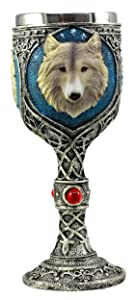 Ebros Royal Blue Celtic Knotwork Magic Remus Gray Wolf Wine Chalice Goblet Cup 7oz Home Kitchen And Dining Decor Accessory Ceremonial Goblet For Direwolf Wolves Timberwolf Coyote Fans