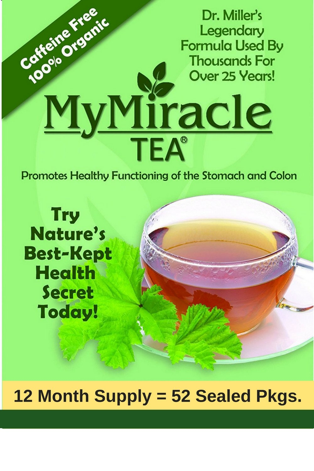 Dr. Miller's Holy Tea   My Miracle Tea Constipation Relief and Detox Tea (12 Month Teabags - Save $110 Discount)