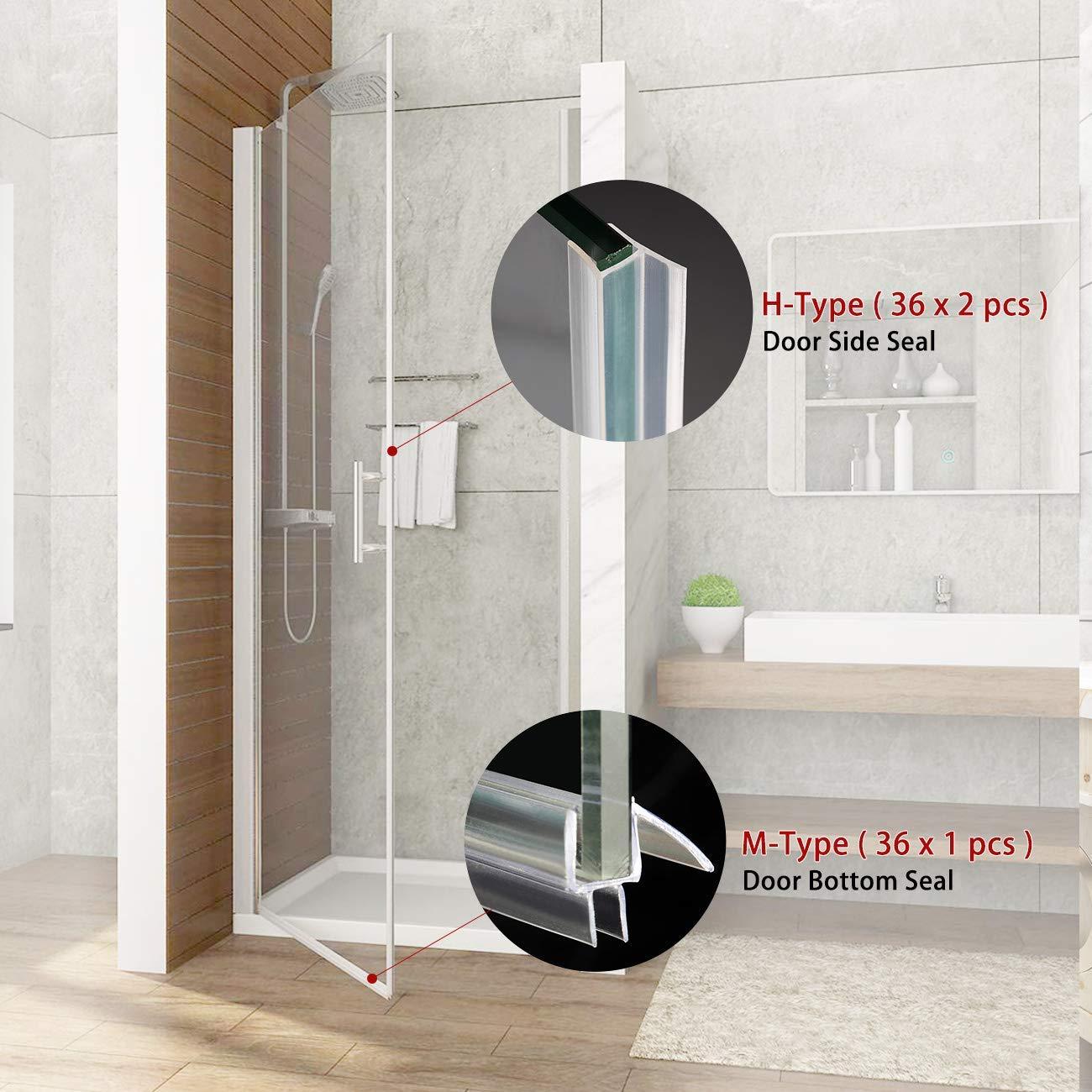 36 Length Frameless Glass Shower Door Seal Strip Glass Door Bottom Strip Set for Door Side and Bottom 1pcs M-Type + 2pcs H-Type MAGZO Glass Shower Door Sweep SET for 1//2 Glass