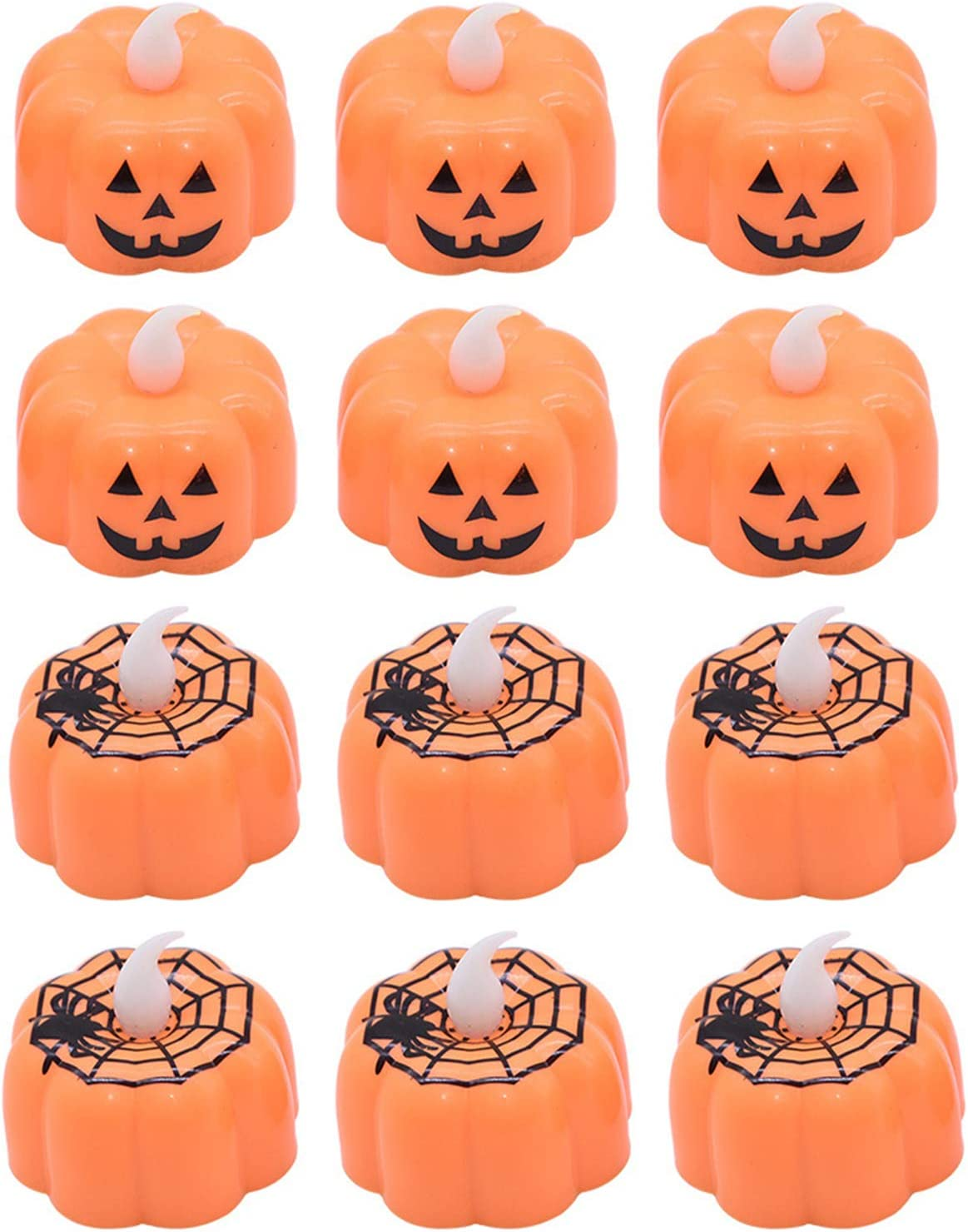 12PCS 3D Pumpkin Flameless Candles Realistic Led Tea Light Warm White Flickering Ghost Face Candles Fall Halloween Thanksgivings Indoor Home Decor