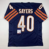 Autographed/Signed Gale Sayers Chicago Blue Football Jersey PSA/DNA COA