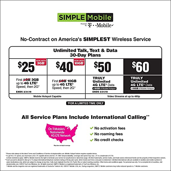 Amazon com: Simple Mobile Activated $50 Unlimited Data Plan