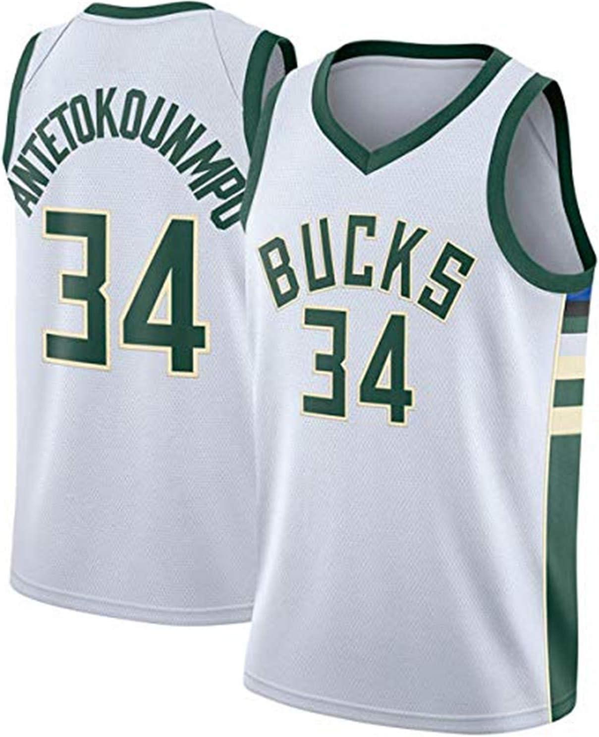 Milwaukee Bucks #34 Giannis Antetokounmpo Bordado NBA Transpirable y Resistente al Desgaste Camiseta para Fan Rying Camiseta de Baloncesto para Hombre